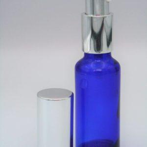 Spenderflasche blau 30ml mit Deckel silber