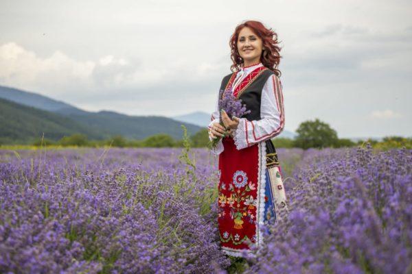 Bulgarische Frau in Tracht in Lavendelfeld zu Gewinnung von Lavendelöl fein Bulgarien bio