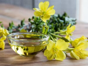 Evening primrose oil in a glass bowl