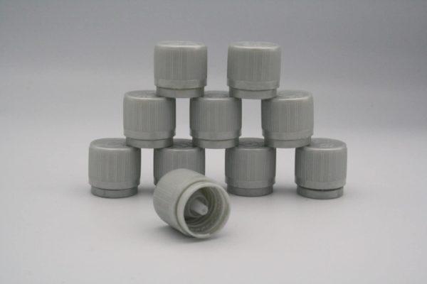 Verschluss Deckel Kindersicher DN 18 Gewinde mit Tropfereinsatz 10 Stück